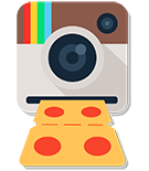 Camera taking a picture of pizza