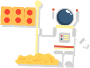 Ellio's Pizza flag on the moon