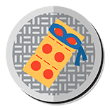 Masked slice of pizza